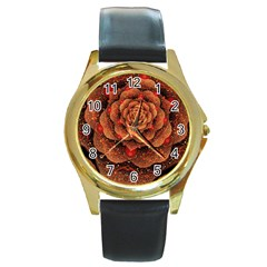 Flower Patterns Petals  Round Gold Metal Watch by amphoto