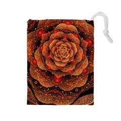 Flower Patterns Petals  Drawstring Pouches (large)  by amphoto