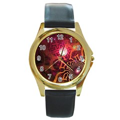 Explosion Background Bright  Round Gold Metal Watch by amphoto