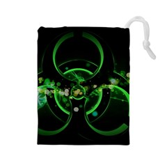 Radiation Sign Spot  Drawstring Pouches (large)  by amphoto