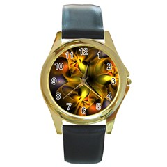 Art Fractal  Round Gold Metal Watch by amphoto