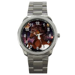 Steampunk Wonderful Wild Horse With Clocks And Gears Sport Metal Watch by FantasyWorld7