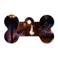 Steampunk Wonderful Wild Horse With Clocks And Gears Dog Tag Bone (one Side) by FantasyWorld7