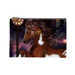 Steampunk Wonderful Wild Horse With Clocks And Gears Cosmetic Bag (large)  by FantasyWorld7