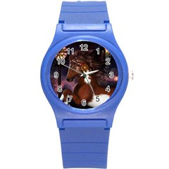 Steampunk Wonderful Wild Horse With Clocks And Gears Round Plastic Sport Watch (s) by FantasyWorld7