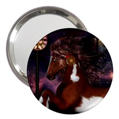 Steampunk Wonderful Wild Horse With Clocks And Gears 3  Handbag Mirrors by FantasyWorld7