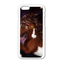 Steampunk Wonderful Wild Horse With Clocks And Gears Apple Iphone 6/6s White Enamel Case by FantasyWorld7
