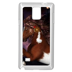 Steampunk Wonderful Wild Horse With Clocks And Gears Samsung Galaxy Note 4 Case (white) by FantasyWorld7