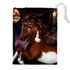 Steampunk Wonderful Wild Horse With Clocks And Gears Drawstring Pouches (xxl) by FantasyWorld7