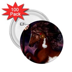 Steampunk Wonderful Wild Horse With Clocks And Gears 2 25  Buttons (100 Pack)  by FantasyWorld7