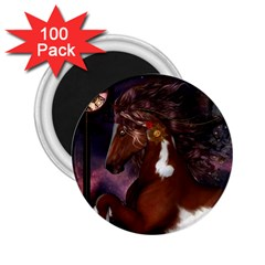 Steampunk Wonderful Wild Horse With Clocks And Gears 2 25  Magnets (100 Pack)  by FantasyWorld7