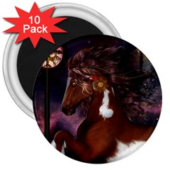 Steampunk Wonderful Wild Horse With Clocks And Gears 3  Magnets (10 Pack)  by FantasyWorld7