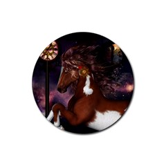Steampunk Wonderful Wild Horse With Clocks And Gears Rubber Round Coaster (4 Pack)  by FantasyWorld7
