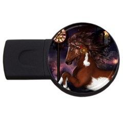 Steampunk Wonderful Wild Horse With Clocks And Gears Usb Flash Drive Round (2 Gb) by FantasyWorld7