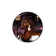 Steampunk Wonderful Wild Horse With Clocks And Gears Hat Clip Ball Marker (10 Pack) by FantasyWorld7