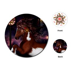Steampunk Wonderful Wild Horse With Clocks And Gears Playing Cards (round)  by FantasyWorld7