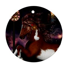 Steampunk Wonderful Wild Horse With Clocks And Gears Round Ornament (two Sides) by FantasyWorld7