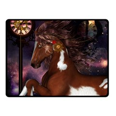 Steampunk Wonderful Wild Horse With Clocks And Gears Double Sided Fleece Blanket (small)  by FantasyWorld7
