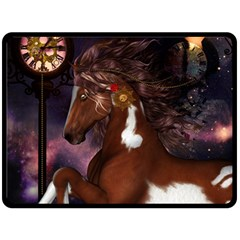 Steampunk Wonderful Wild Horse With Clocks And Gears Double Sided Fleece Blanket (large)  by FantasyWorld7