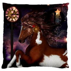 Steampunk Wonderful Wild Horse With Clocks And Gears Large Flano Cushion Case (two Sides) by FantasyWorld7