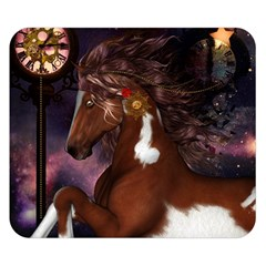 Steampunk Wonderful Wild Horse With Clocks And Gears Double Sided Flano Blanket (small)  by FantasyWorld7