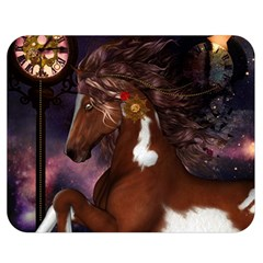 Steampunk Wonderful Wild Horse With Clocks And Gears Double Sided Flano Blanket (medium)  by FantasyWorld7