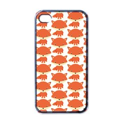 Cute Little Fox Pattern Apple Iphone 4 Case (black) by paulaoliveiradesign