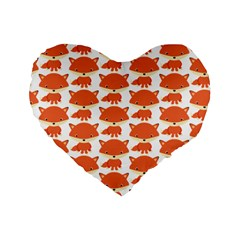 Cute Little Fox Pattern Standard 16  Premium Heart Shape Cushions