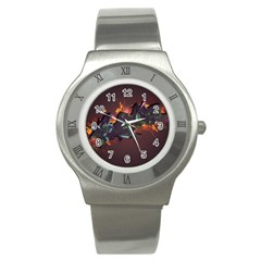 Abstraction Patterns Stripes  Stainless Steel Watch by amphoto