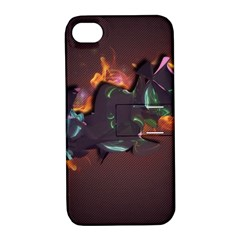 Abstraction Patterns Stripes  Apple Iphone 4/4s Hardshell Case With Stand by amphoto