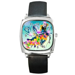 Parrot Abstraction Patterns Square Metal Watch by amphoto