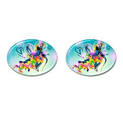 Parrot Abstraction Patterns Cufflinks (oval) by amphoto