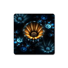 Fractal Flowers Abstract  Square Magnet by amphoto