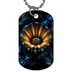 Fractal Flowers Abstract  Dog Tag (one Side) by amphoto