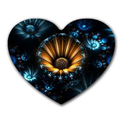 Fractal Flowers Abstract  Heart Mousepads by amphoto