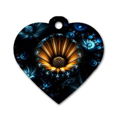 Fractal Flowers Abstract  Dog Tag Heart (one Side) by amphoto