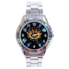 Fractal Flowers Abstract  Stainless Steel Analogue Watch by amphoto