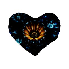 Fractal Flowers Abstract  Standard 16  Premium Heart Shape Cushions by amphoto