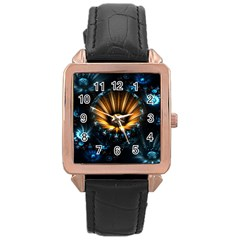 Fractal Flowers Abstract  Rose Gold Leather Watch  by amphoto
