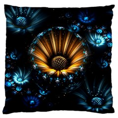 Fractal Flowers Abstract  Large Flano Cushion Case (two Sides) by amphoto
