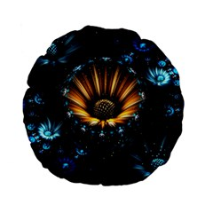 Fractal Flowers Abstract  Standard 15  Premium Flano Round Cushions by amphoto
