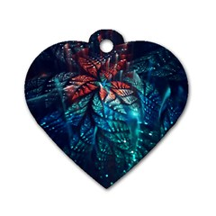 Fractal Flower Shiny  Dog Tag Heart (one Side) by amphoto