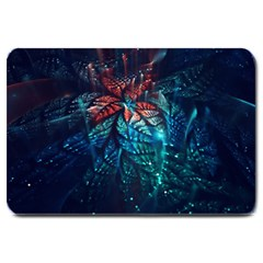 Fractal Flower Shiny  Large Doormat  by amphoto