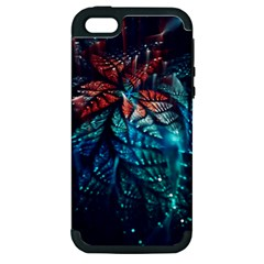 Fractal Flower Shiny  Apple Iphone 5 Hardshell Case (pc+silicone) by amphoto