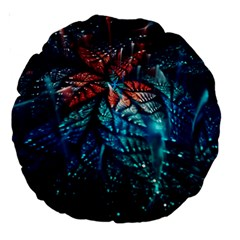 Fractal Flower Shiny  Large 18  Premium Round Cushions by amphoto
