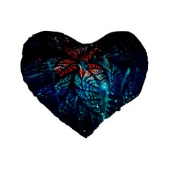 Fractal Flower Shiny  Standard 16  Premium Heart Shape Cushions by amphoto