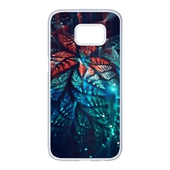 Fractal Flower Shiny  Samsung Galaxy S7 Edge White Seamless Case by amphoto