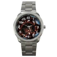 Pattern Fractal Abstract 3840x2400 Sport Metal Watch by amphoto
