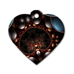 Pattern Fractal Abstract 3840x2400 Dog Tag Heart (one Side) by amphoto