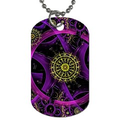 Fractal Neon Rings  Dog Tag (two Sides) by amphoto
